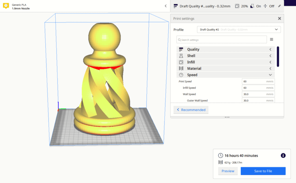 How Long Filament Lasts - Chess Pawn Piece 3