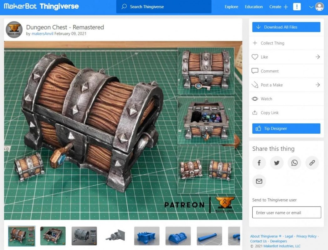 30 Cool Things to 3D Print for Dungeons & Dragons - Dungeon Chest - 3D Printerly