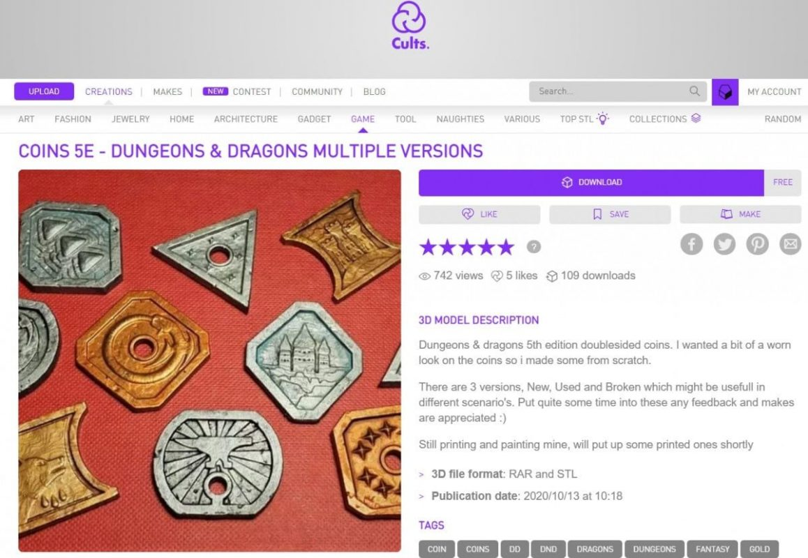 30 Cool Things to 3D Print for Dungeons & Dragons - Dungeon & Dragons Coins - 3D Printerly