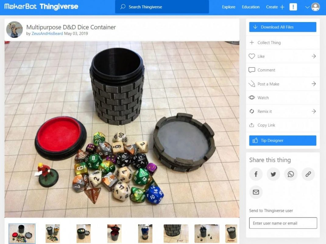 30 Cool Things to 3D Print for Dungeons & Dragons - Multipurpose Dice Holder - 3D Printerly
