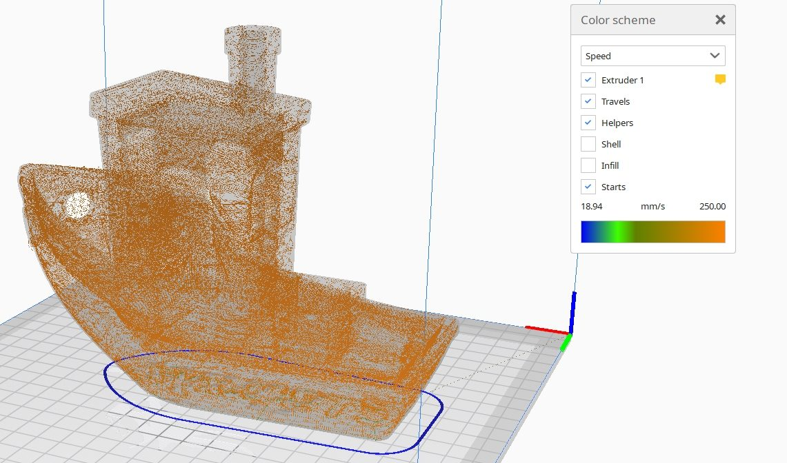 How to Improve 3D Benchy Quality - Preview Travel Speed Cura Travels Only - 3D Printerly