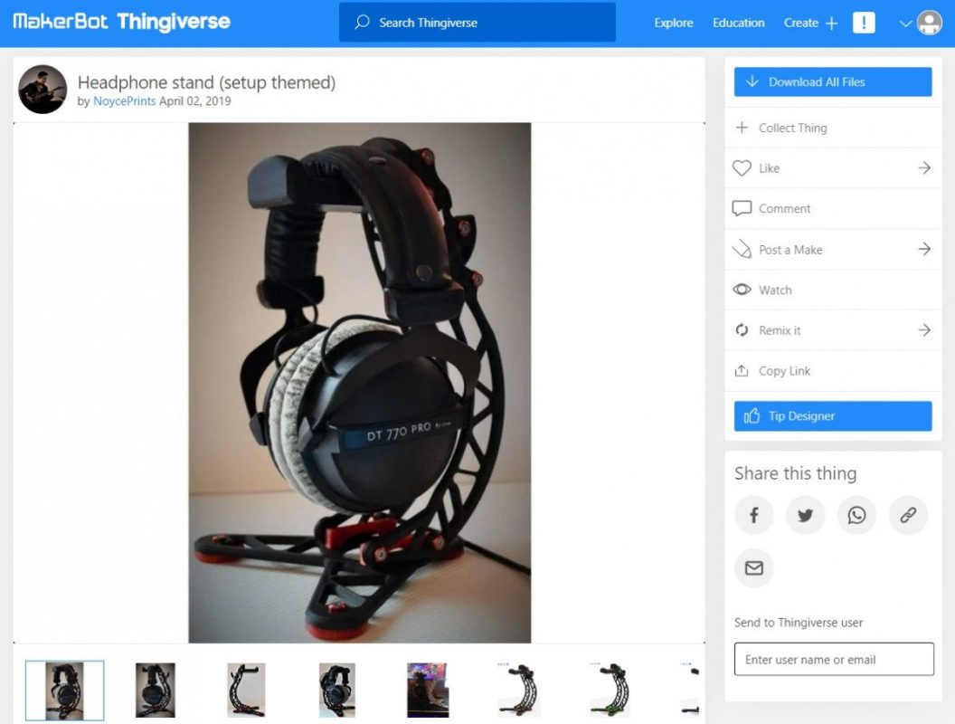 3D Printed Computer & Laptop Accessories - Headphone Stand - 3D Printerly