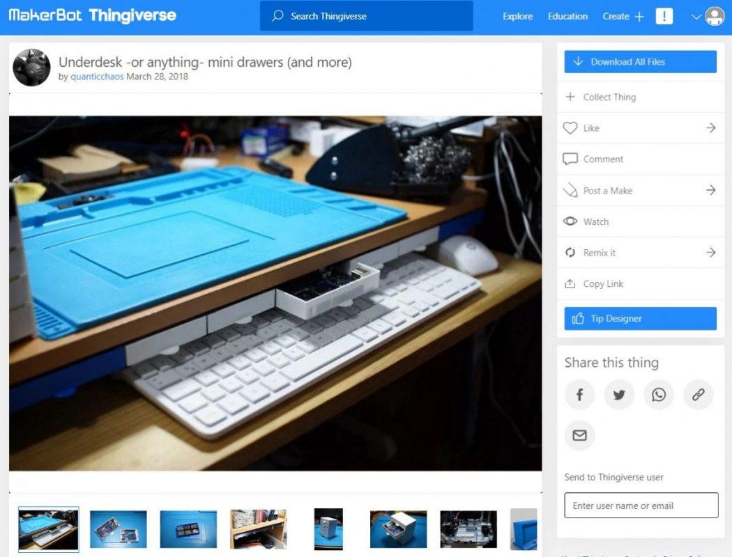 3D Printed Computer & Laptop Accessories - Under Desk Mini Drawers - 3D Printerly