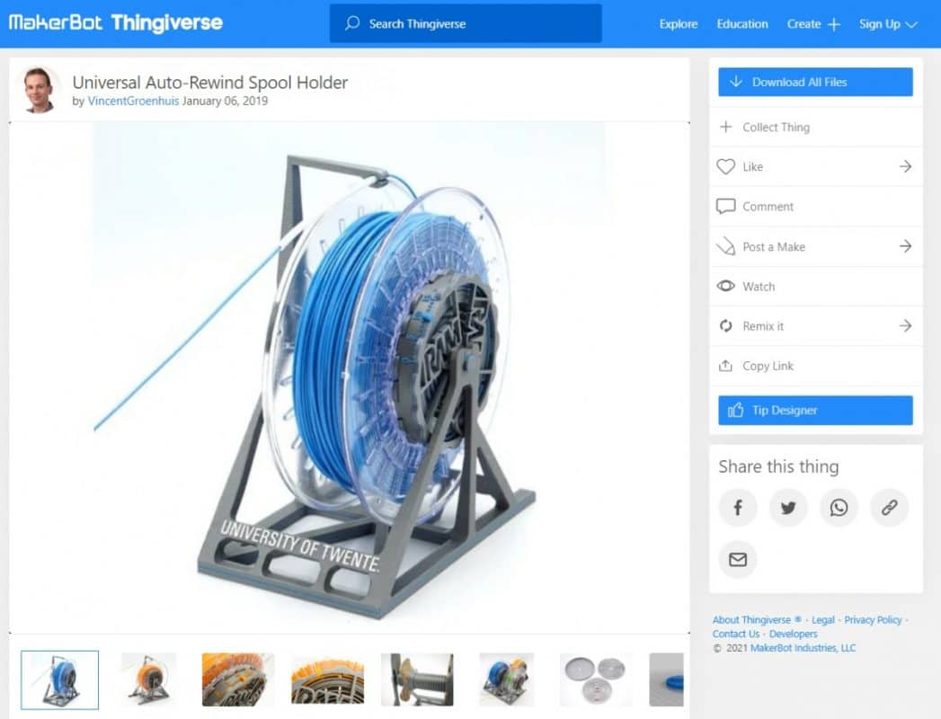 What Are the Parts of a Filament 3D Printer - Univeral Spool Holder - 3D Printerly