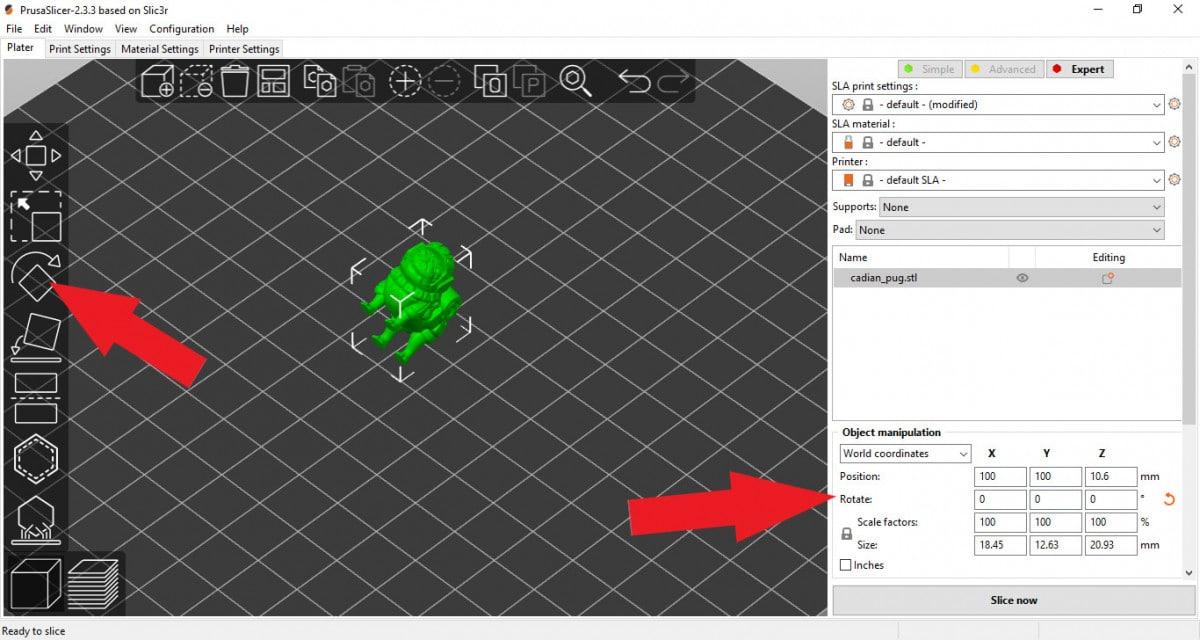 Rotating the model in PrusaSlicer